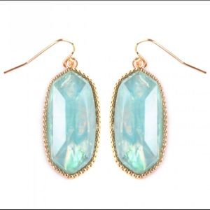 New🌸Light Teal Mint glass faceted Drop earrings